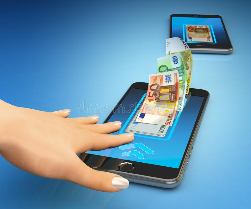 Mobiele bankwezen online betaling, draadloos geldoverdracht en e-portefeuille concept royalty-vrije illustratie