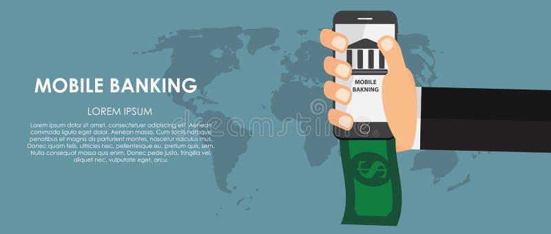 Mobiele Bankwezen Vectorillustratie Vlakke gegevensverwerking royalty-vrije illustratie