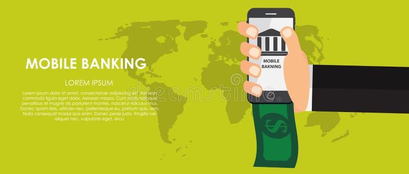 Mobiele Bankwezen Vectorillustratie Vlakke gegevensverwerking stock illustratie