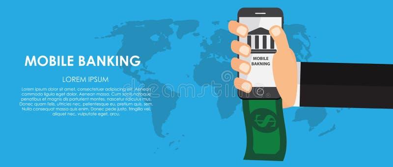 Mobiele Bankwezen Vectorillustratie Vlakke gegevensverwerking vector illustratie