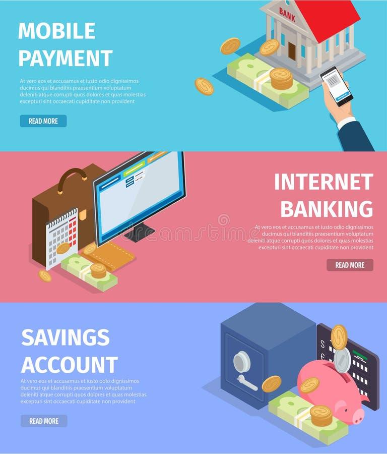Mobiele Betaling Het Bankwezen van Internet Spaarrekening vector illustratie