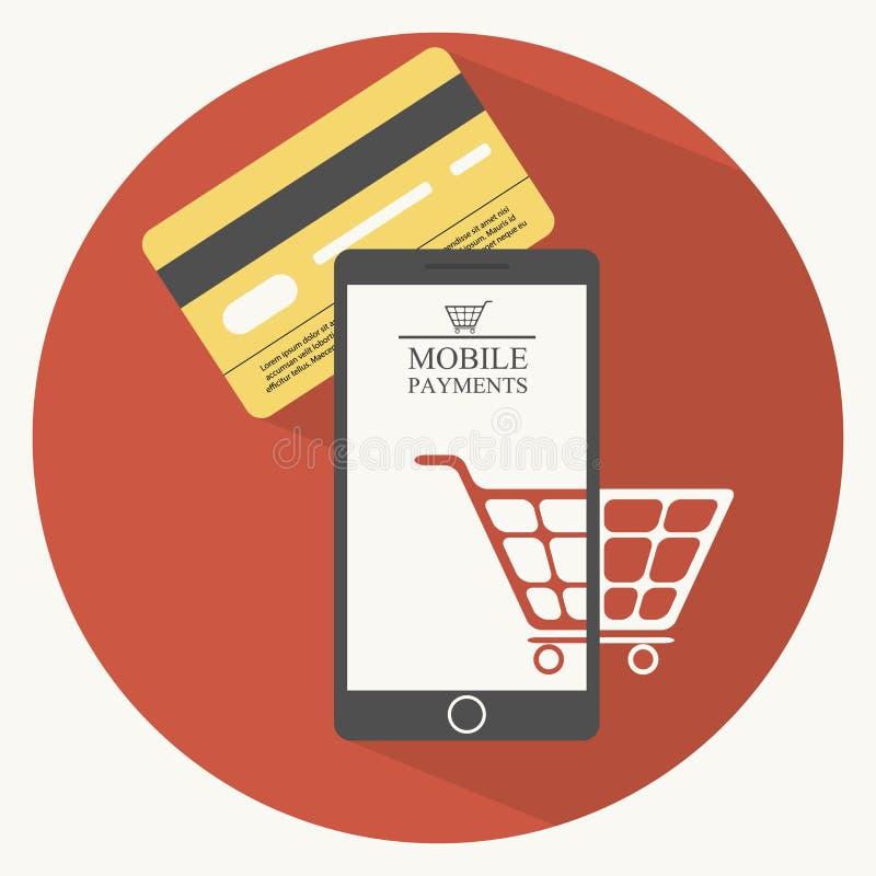 Mobiele betalingenillustratie in vlakke stijl royalty-vrije illustratie