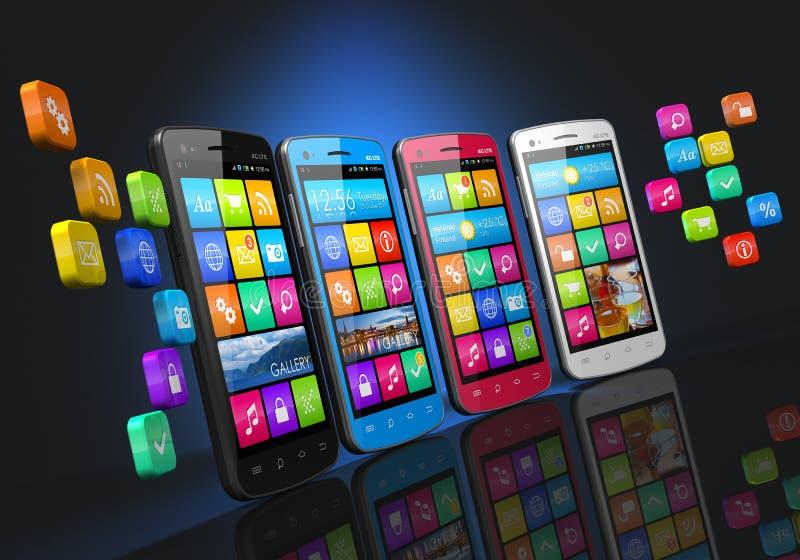 Mobiele communicatiemiddelen en media concept stock illustratie