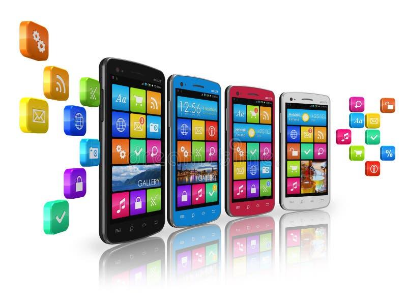 Mobiele communicatiemiddelen en sociaal voorzien van een netwerk royalty-vrije illustratie