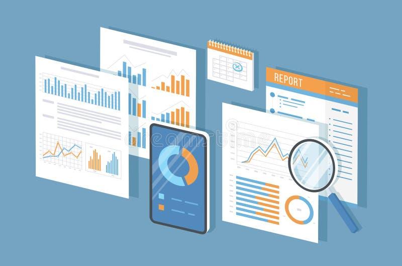 Mobiele controle, gegevensanalyse, statistieken, onderzoek Telefoon met informatie over het scherm, documenten, rapport, meer mag vector illustratie