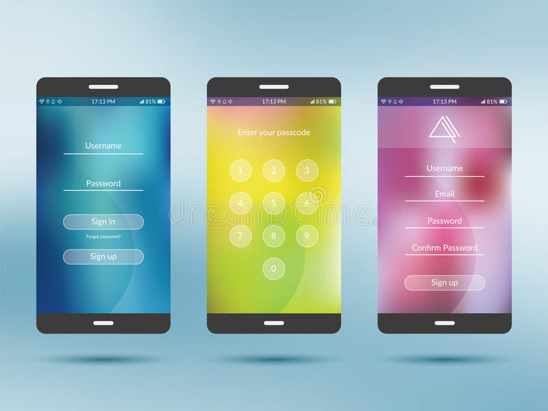 Mobiele de inzamelingsreeks van de toepassingsui uitrusting vector illustratie