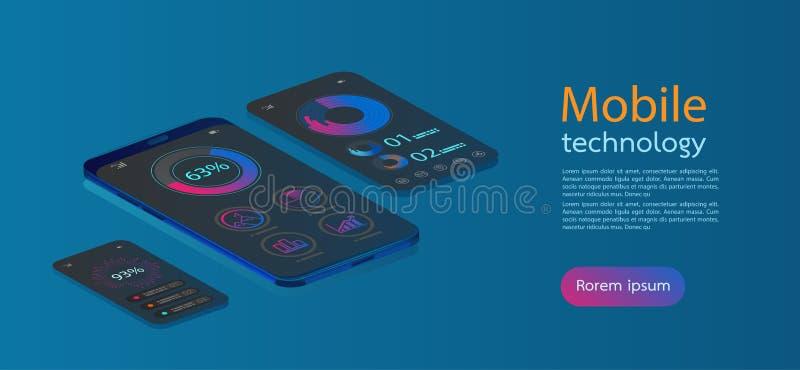 Mobiele de schermen moderne infographic Diagrammalplaatje en grafiekgrafiek Vlakke Webpictogrammen voor mobiele toepassingen, 3d  royalty-vrije illustratie