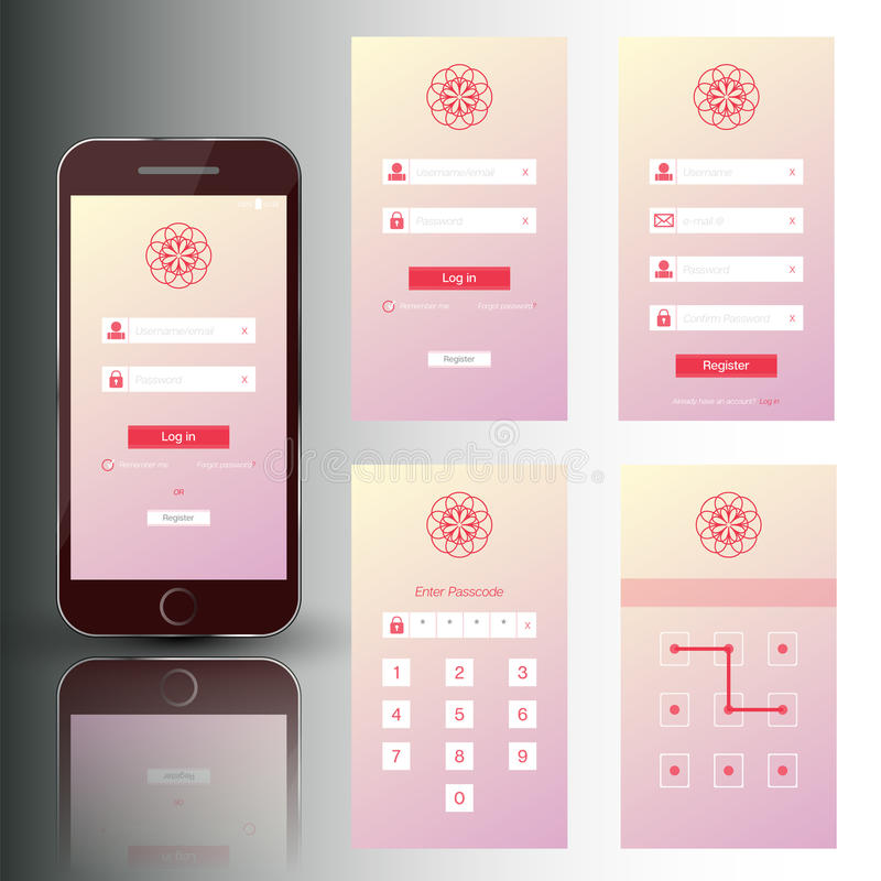 Mobiele de telefoonreeks van Nice veiligheidskaders stock illustratie