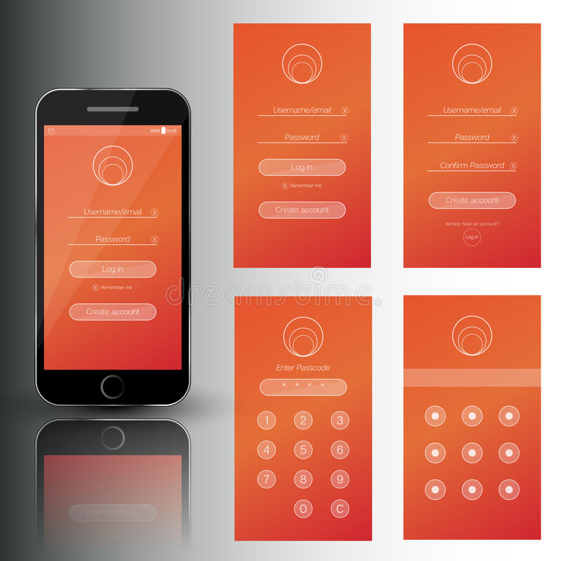 Mobiele de telefoonreeks van Nice veiligheidskaders Het malplaatje met login, registratie, wachtwoord en jat de schermen vector illustratie