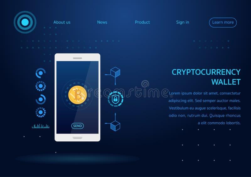 Mobiele de telefoonwebpagina van de Cryptocurrency bitcoin portefeuille royalty-vrije illustratie