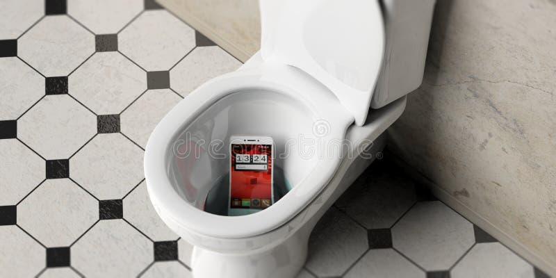 Mobiele die telefoon in de kom van het badkamerstoilet, 3d illustratie wordt gelaten vallen vector illustratie