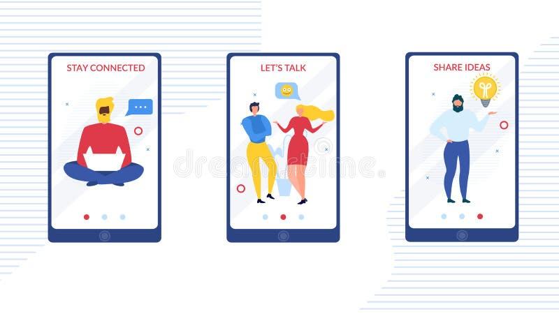 Mobiele die Toepassing met Mensengesprek wordt geplaatst stock illustratie