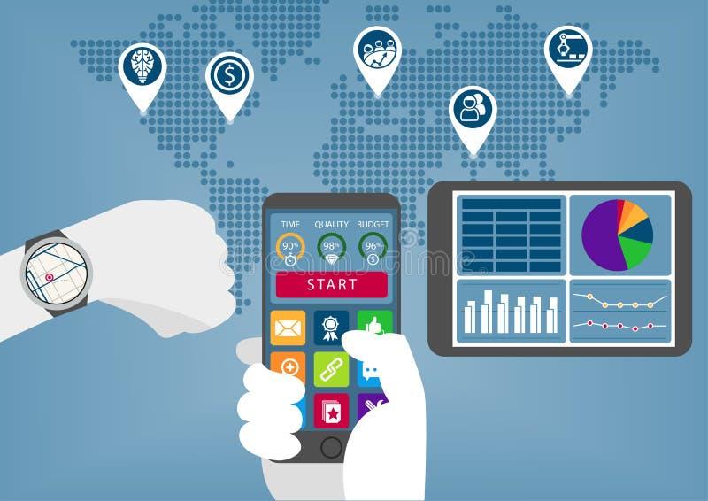 Mobiele digitale zaken infographic met hand die slim telefoon en horloge houden vector illustratie