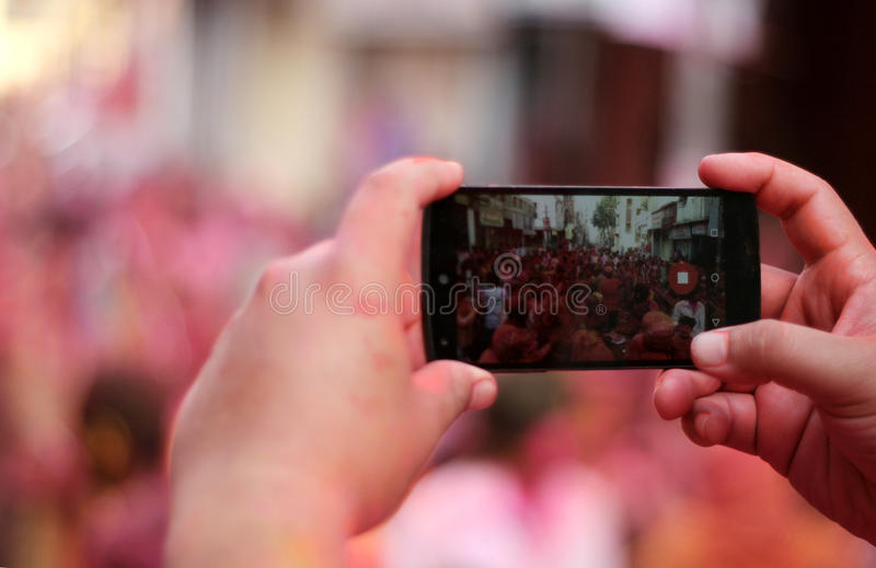 Mobiele fotografie stock foto