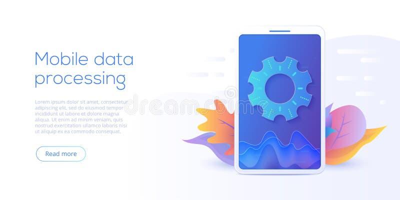 Mobiele gegevens - verwerkingstechnologie in isometrische vectorillustrati stock illustratie