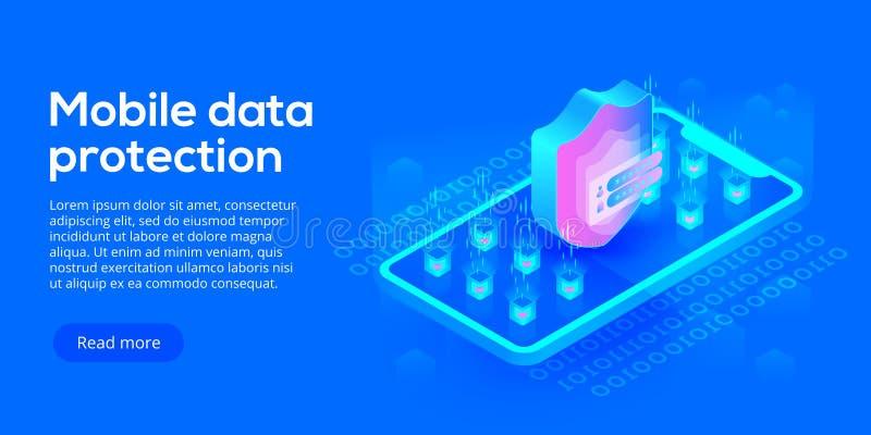 Mobiele gegevensbeveiliging isometrische vectorillustratie Online payme vector illustratie