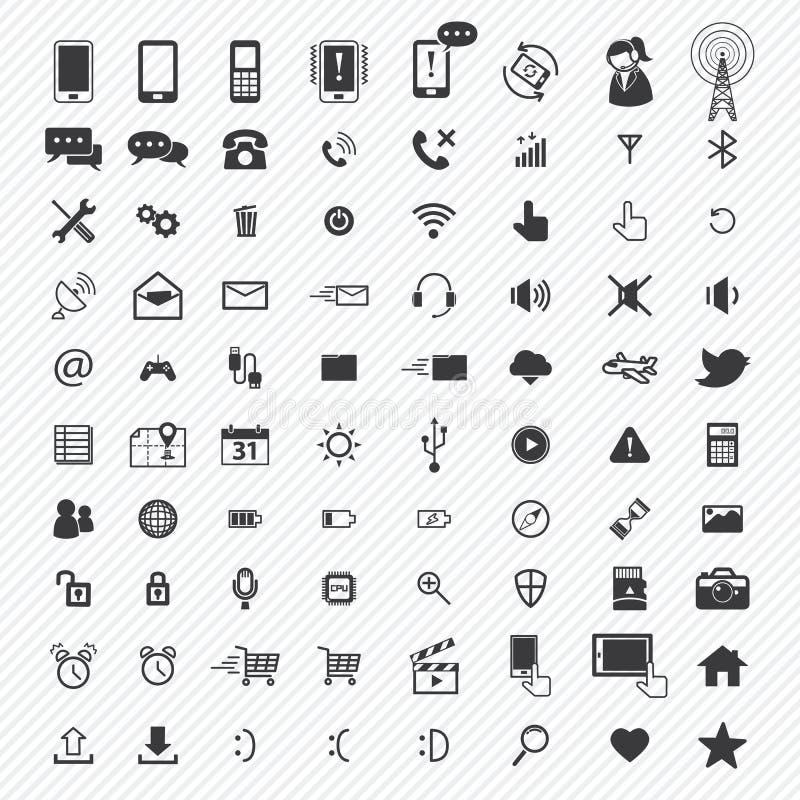Mobiele geplaatste pictogrammen Illustratie royalty-vrije illustratie