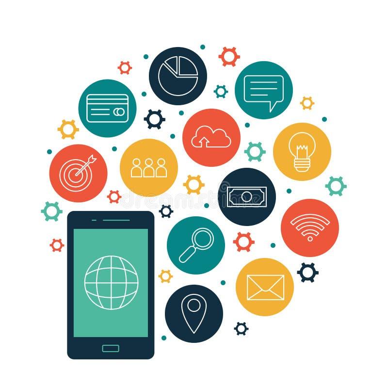 Mobiele globale bedrijfs online mededeling stock illustratie