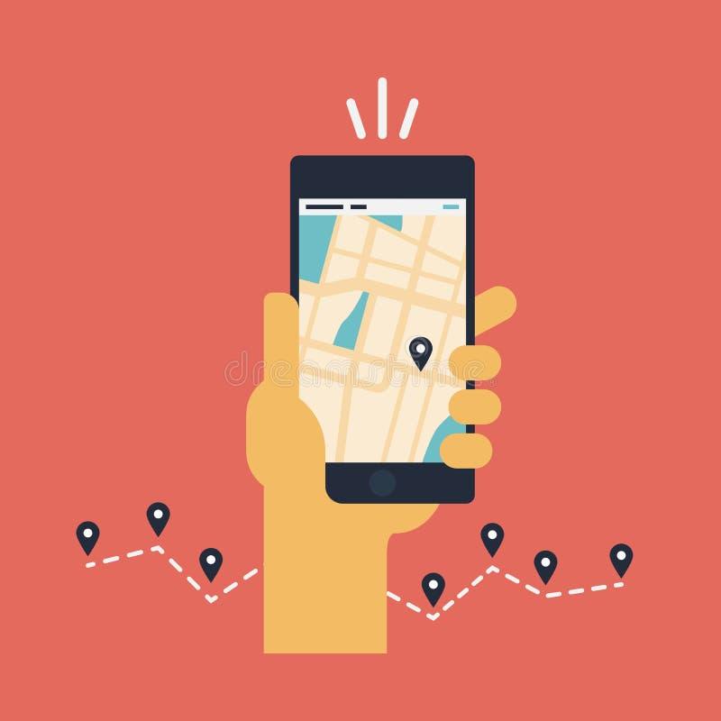 Mobiele GPS-navigatie vlakke illustratie