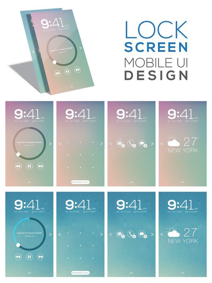 Mobiele het Gebruikersinterfaceuitrusting van het slotscherm royalty-vrije illustratie