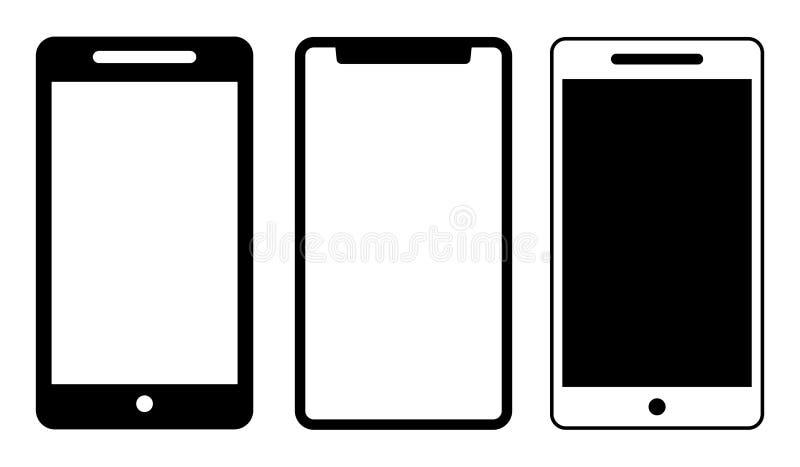 Mobiele het malplaatjezwarte van telefoonpictogrammen vector illustratie