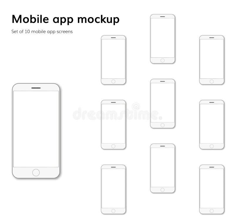 Mobiele het modelvector van de toepassingsschermen royalty-vrije illustratie