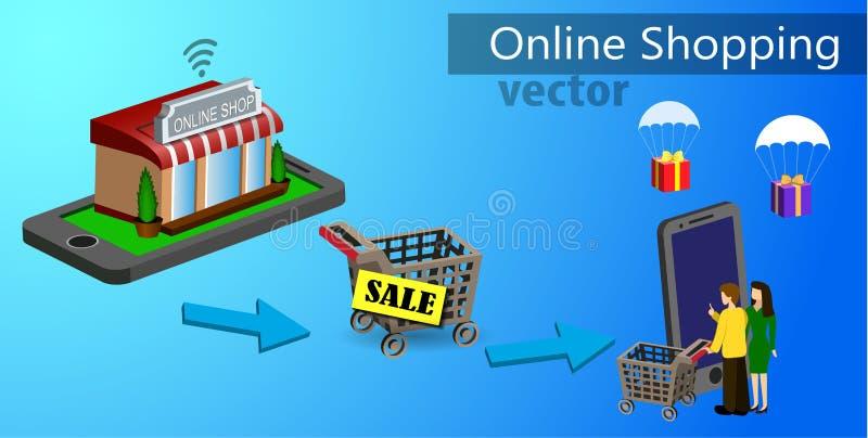 Mobiele het winkelen elektronische handel vector illustratie