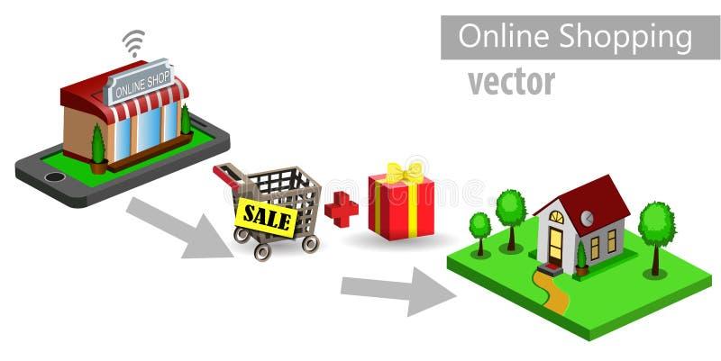 Mobiele het winkelen elektronische handel royalty-vrije illustratie
