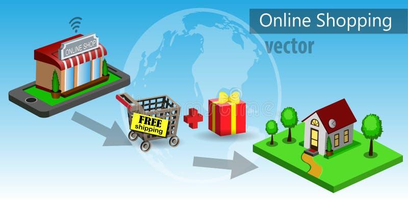 Mobiele het winkelen elektronische handel stock illustratie
