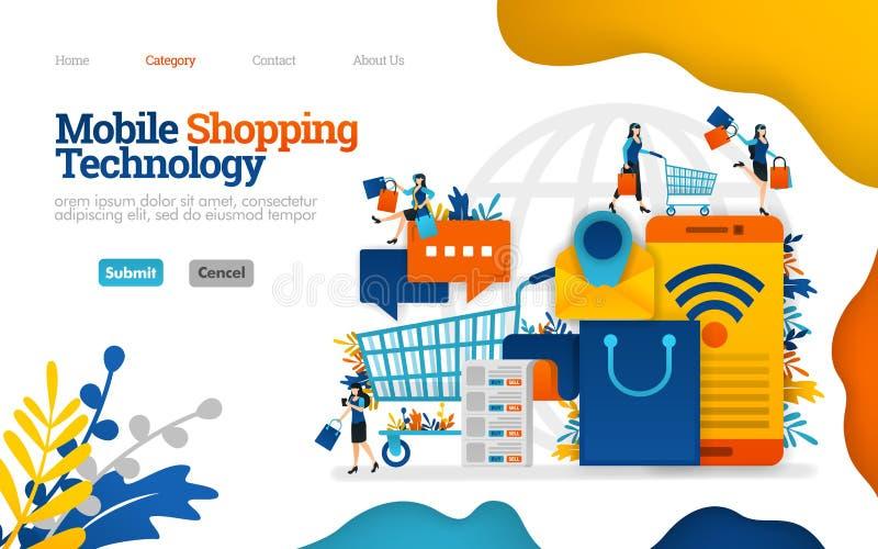 Mobiele het winkelen technologie, het leiden het winkelen en dagelijkse noodzaak met e-commerce Het vector vlakke illustratieconc vector illustratie
