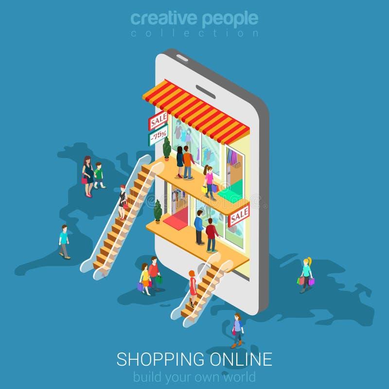 Mobiele het winkelen vlakke vector isometrisch van de elektronische handel online opslag royalty-vrije illustratie