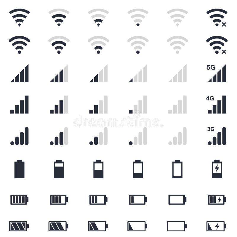 Mobiele interacepictogrammen, batterijlast, WiFi-signaal, de mobiele geplaatste pictogrammen van het signaalniveau stock illustratie