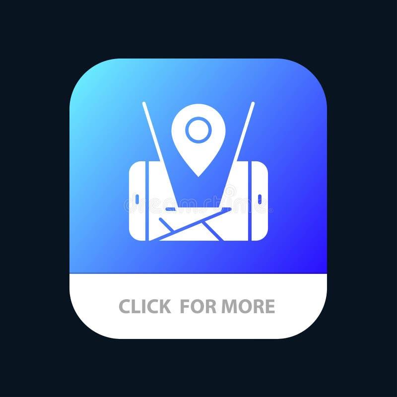 Mobiele kaart, Plaats, de Knoop van de Technologiemobiele toepassing Android en IOS Glyph Versie vector illustratie