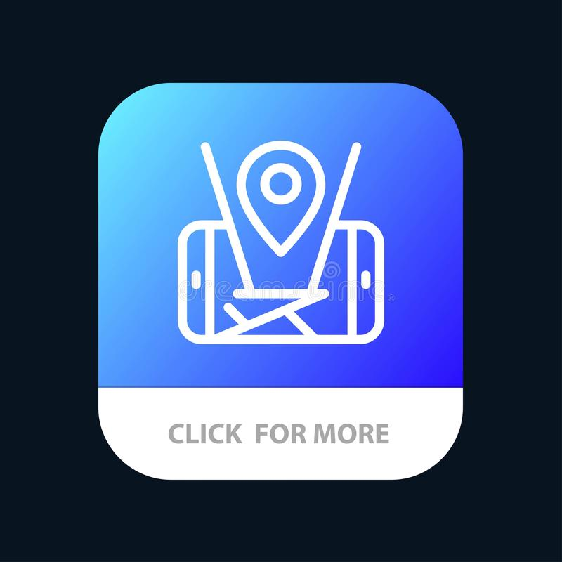 Mobiele kaart, Plaats, de Knoop van de Technologiemobiele toepassing Android en IOS Lijnversie vector illustratie