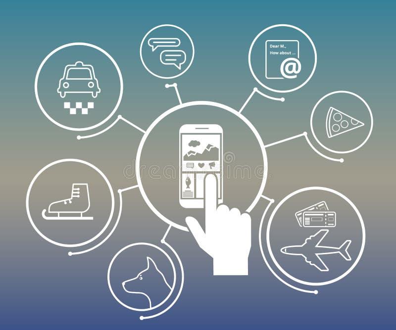 Mobiele levensstijl apps royalty-vrije illustratie