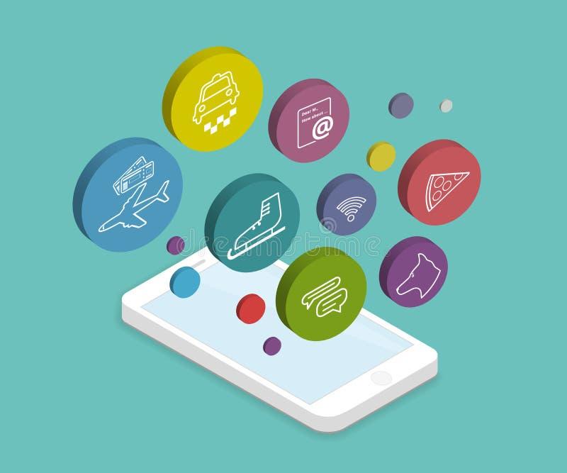 Mobiele levensstijl apps stock illustratie