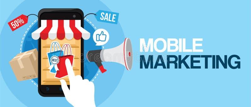 Mobiele marketing elektronische handel online opslag vector illustratie
