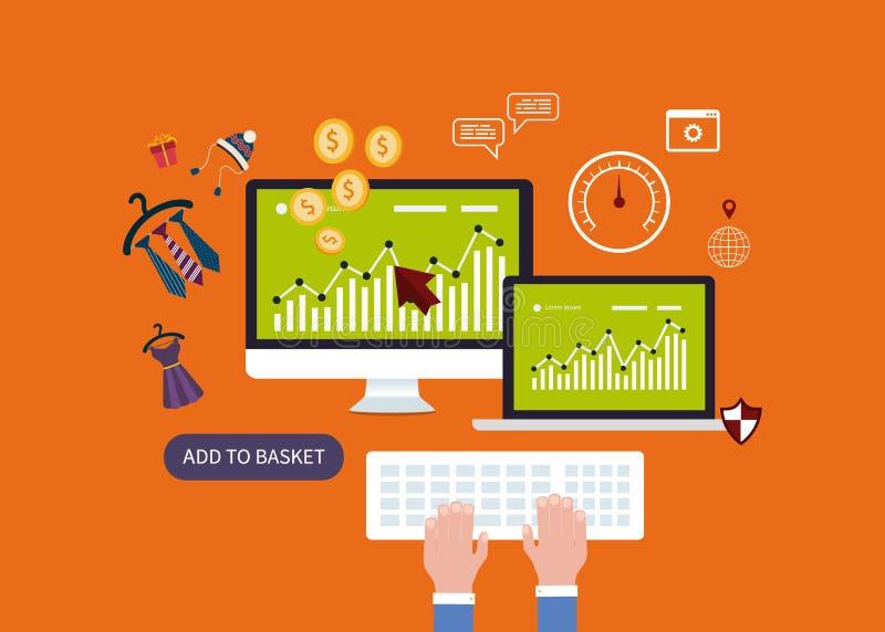 Mobiele marketing elementen vector illustratie