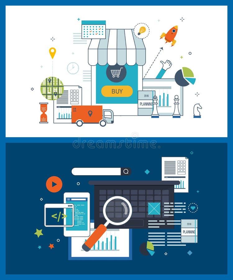 Mobiele marketing en online het winkelen, strategie planningsconcept Investeringszaken royalty-vrije illustratie