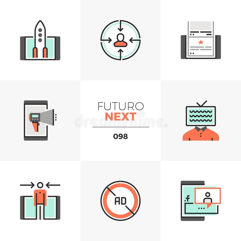 Mobiele Marketing Futuro Volgende Pictogrammen stock illustratie