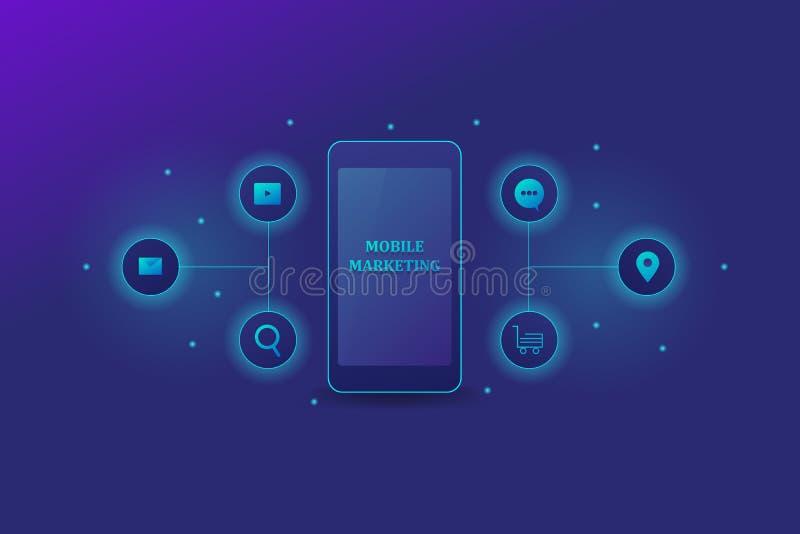 Mobiele marketing tekst die op het smartphonescherm tonen met digitale marketing en communicatie pictogrammen, op een gradiëntach royalty-vrije illustratie