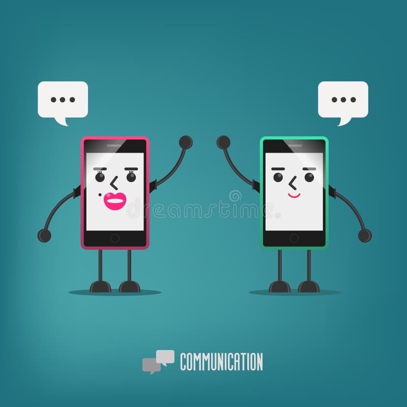 Mobiele meisje en jongen die spreken: mededeling vector illustratie