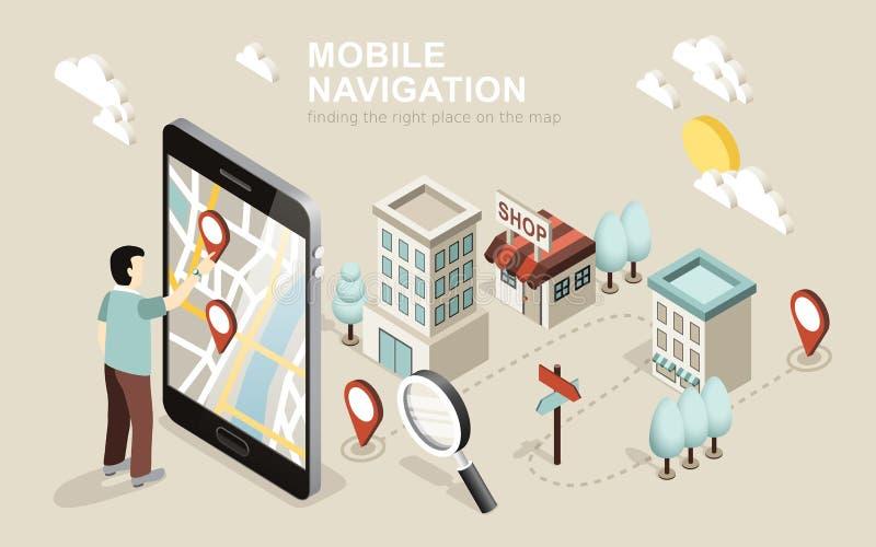 Mobiele navigatie vector illustratie