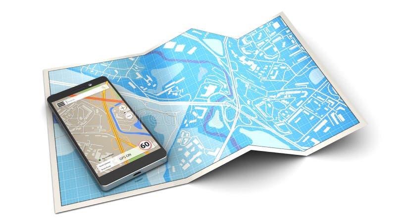 Mobiele navigatie stock illustratie