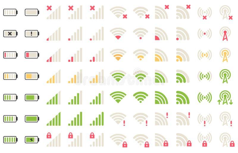 Mobiele niveaupictogrammen Netwerksignaal, wifiverbinding en het pictogram van batterijniveaus Gadgetsbatterijen, het pictogram v vector illustratie