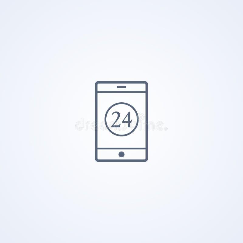 Mobiele online, Internet-bankwezen, vector beste grijs lijnpictogram stock illustratie