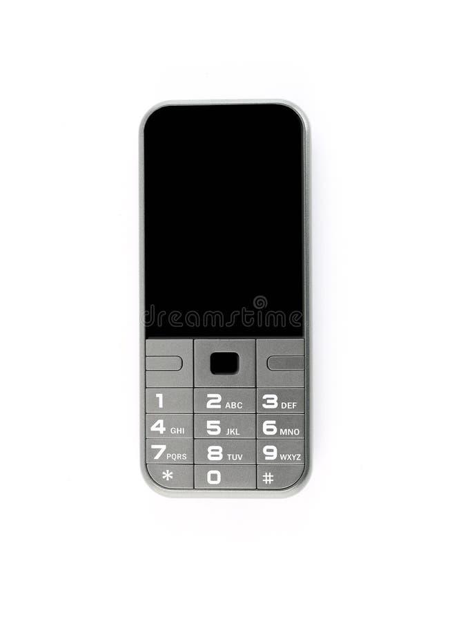 Mobiele oude grijze versie geïsoleerd op witte achtergrond stock foto