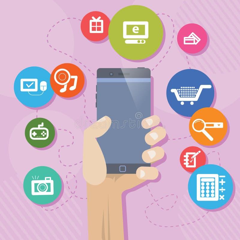 Mobiele PhoneShopping Shoping stock illustratie