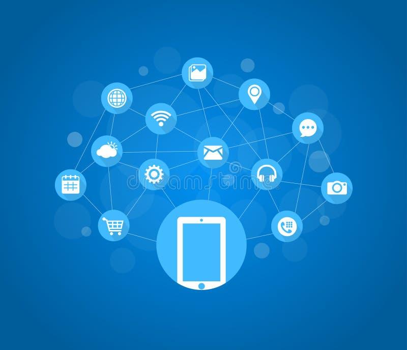 Mobiele Pictogrammen, Sociale Media, Mobiele Technologie, Internet vector illustratie