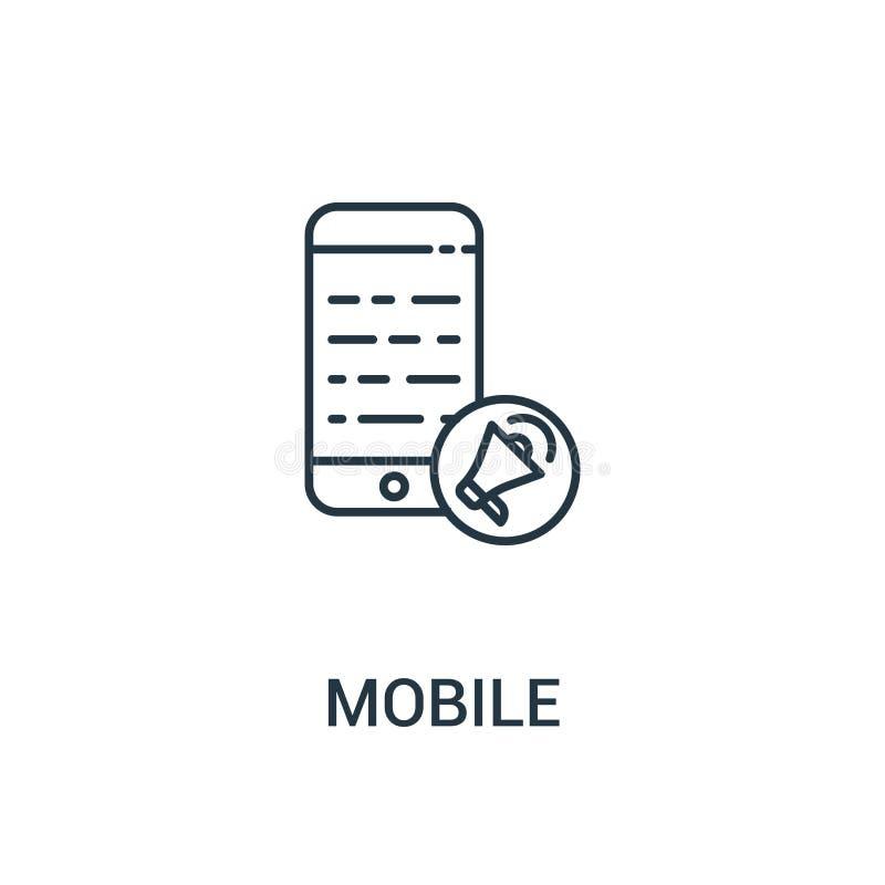 mobiele pictogramvector van advertentiesinzameling Dunne het pictogram vectorillustratie van het lijn mobiele overzicht Lineair s stock illustratie